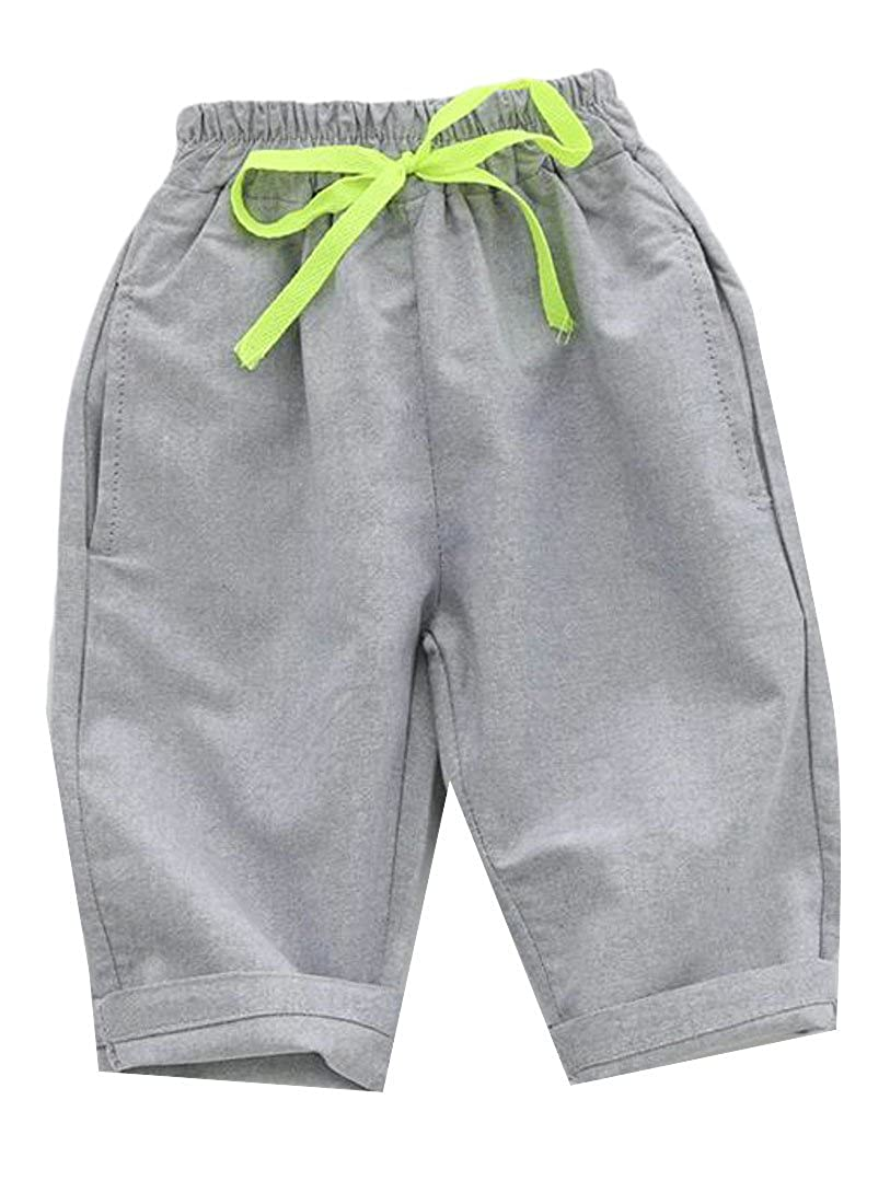 Cromoncent Boy Solid Color Casual Cotton Linen Elastic Waist Drawstring Bermuda Pants