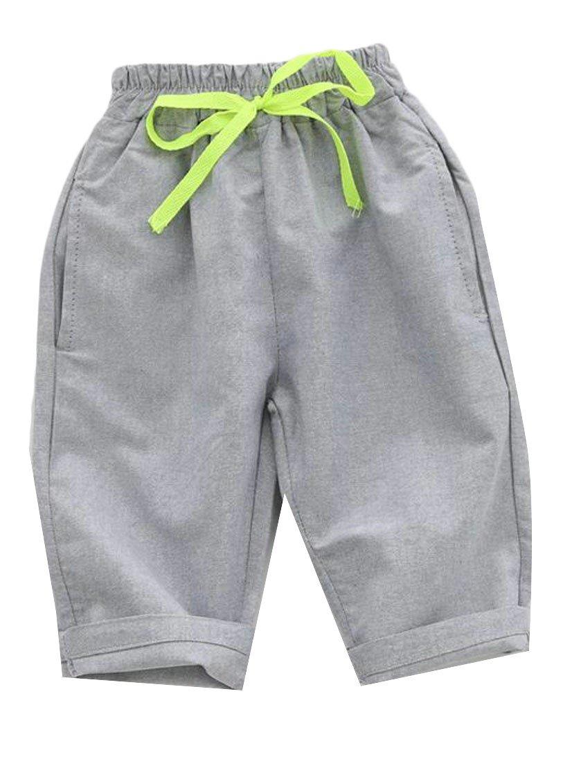 Pandapang Boy's Drawstring Elastic Waist Solid Cotton Linen Casual Bermuda Short Pants Grey 2T