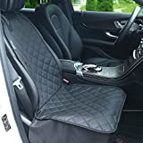 SoulSpa Pet Front Seat Cover for Cars Trucks and SUV'S Waterproof & Nonslip Rubber Backing Durable Anchors Quilted Padded Machine Washable Black Dog Covers Universal Fit