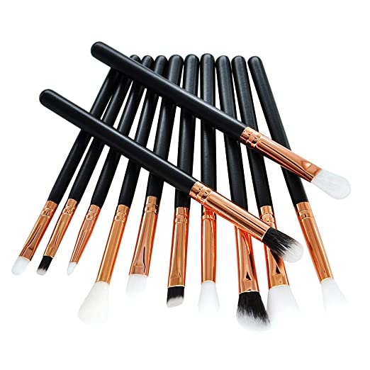 12pcs Rose Gold And Black Handle Professional Eyeshadow Makeup Brush Set Includes - Eyeshadow, Eyeliner, Eyebrow, And Concealer Brushes to Enhance Your Everyday Eye Look By Luxurr Cosm.