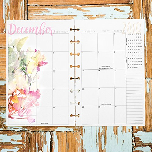 2018 April to December Monthly Planner Inserts for Discbound Junior, Dated Calendar, Watercolor Floral