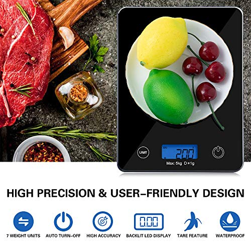 Food Scale, 11lb Digital Kitchen Scale Weight Grams and Ounces for Cooking Baking, 1g/0.1oz Precise Graduation, 7 Units LCD Display, Sleek Tempered Glass Platform