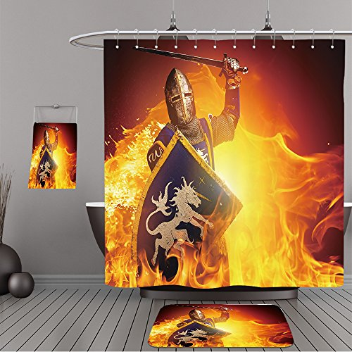 Uhoo Bathroom Suits & Shower Curtains Floor Mats And Bath Towels 94519579 Medieval knight in attack position on fire background. For Bathroom