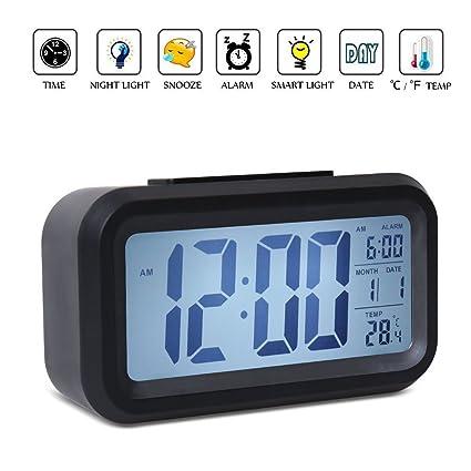 Desk Digital Alarm Clock Sensor Automatic Soft Light Snooze Date Temperature US