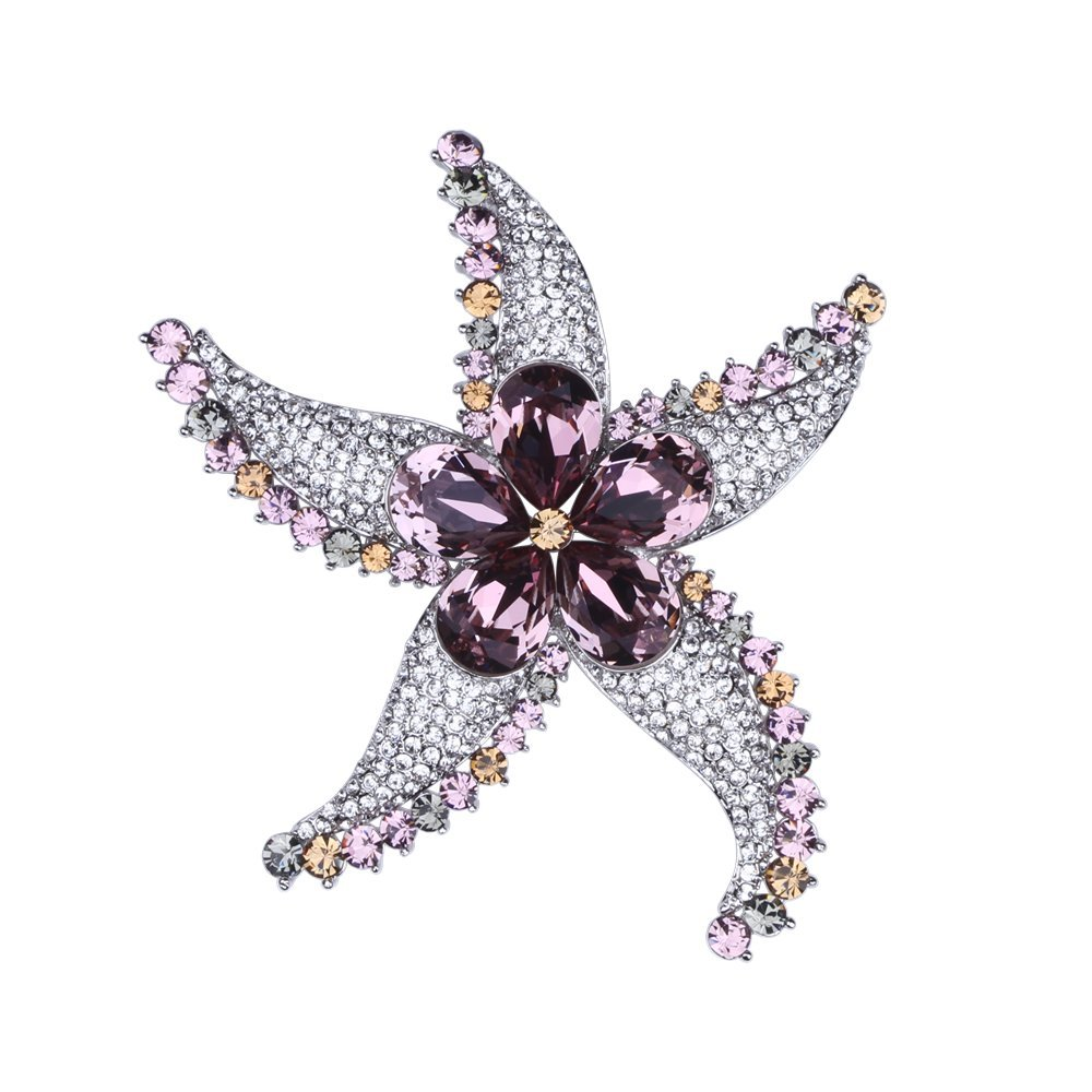 Exquisite Starfish Brooch Pin Swarovski Crystal Rhinestone Brooches for Women Wedding Party Jewelry Gift (Pink)