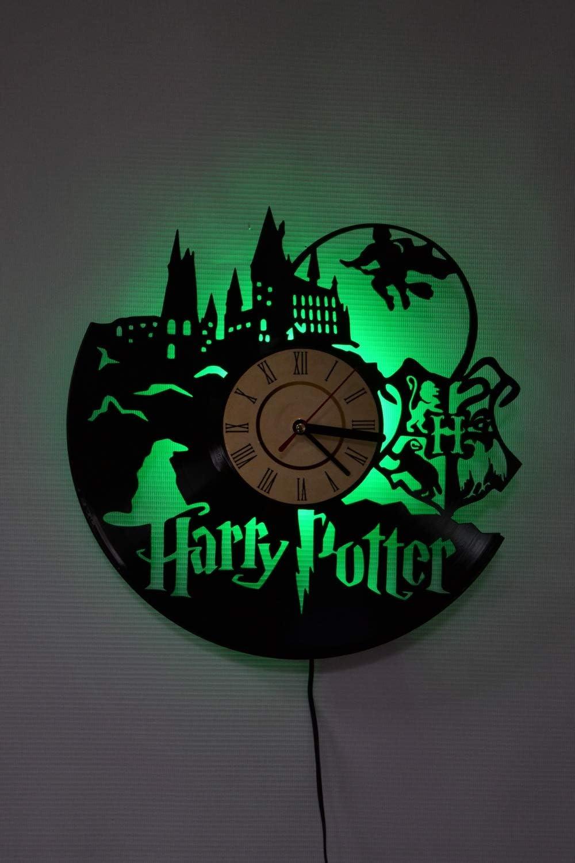 SVITshop Wizarding World LED Wall Lights, Night Light, Wall Lamp, Handmade LED Vinyl Wall Clock Remote Control LED Vintage Backlight Art Cool Living Room Interior Decor (Green)
