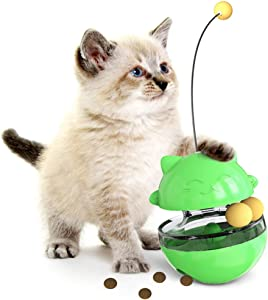 WLHOPE Cat Tumbler Toy Ball Tumbler Funny Cat Toy Interactive with Puzzle Chasing Playing Eating Slow Food Feeder Suitable for Various Cat Entertainment Activities (Green)