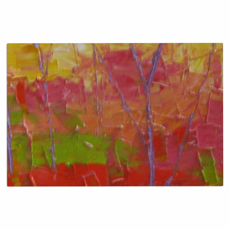 Kess InHouse Jeff Ferst Colorful Garden Orange Green Decorative Door 2 x 3 Floor Mat