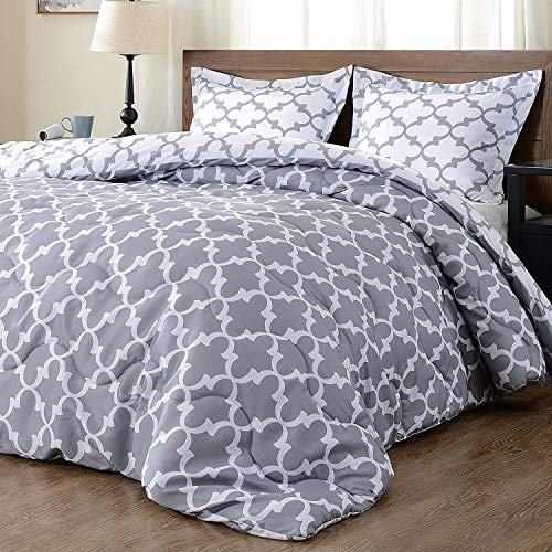 downluxe Lightweight Printed Comforter Set (King,Grey) with 2 Pillow Shams - 3-Piece Set - Down Alternative Reversible Comforter (Comforter Grey King)