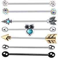 TIANCI FBYJS 9pcs Industrial Barbell Earring Tribal Arrow Cartilage Piercing 14G Stainless Steel Set (Owl Mix 7 Style 7pcs)