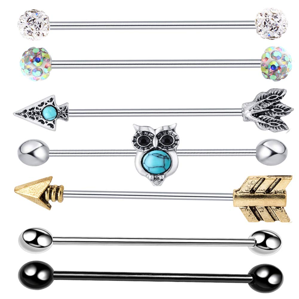 TIANCI FBYJS 9PCS Industrial Barbell Earring Tribal Arrow Cartilage Piercing 14G Stainless Steel Set (Owl Mix 7 Style 7pcs) TIANCIFBYJS