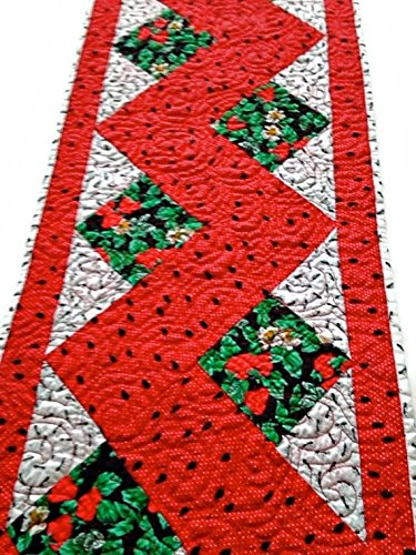 """Whimsical Quilted Table Runner Handmade / Quilted Table Topper / Quilted Table Linen - Watermelon Seeds, Strawberries and Ants - 13-3/4"""" wide x 46-1/2"""" long"""