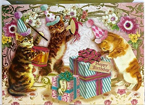 Punch Studio Single(1) Gold Foil Gem Embellished Birthday Card + Gold Foil Env + Seal ~ Kitty Party ()