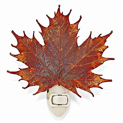 Lights Night Iridescent Copper - The Rose Lady Iridescent Copper Coated Real Sugar Maple Leaf Nightlight -Made in USA