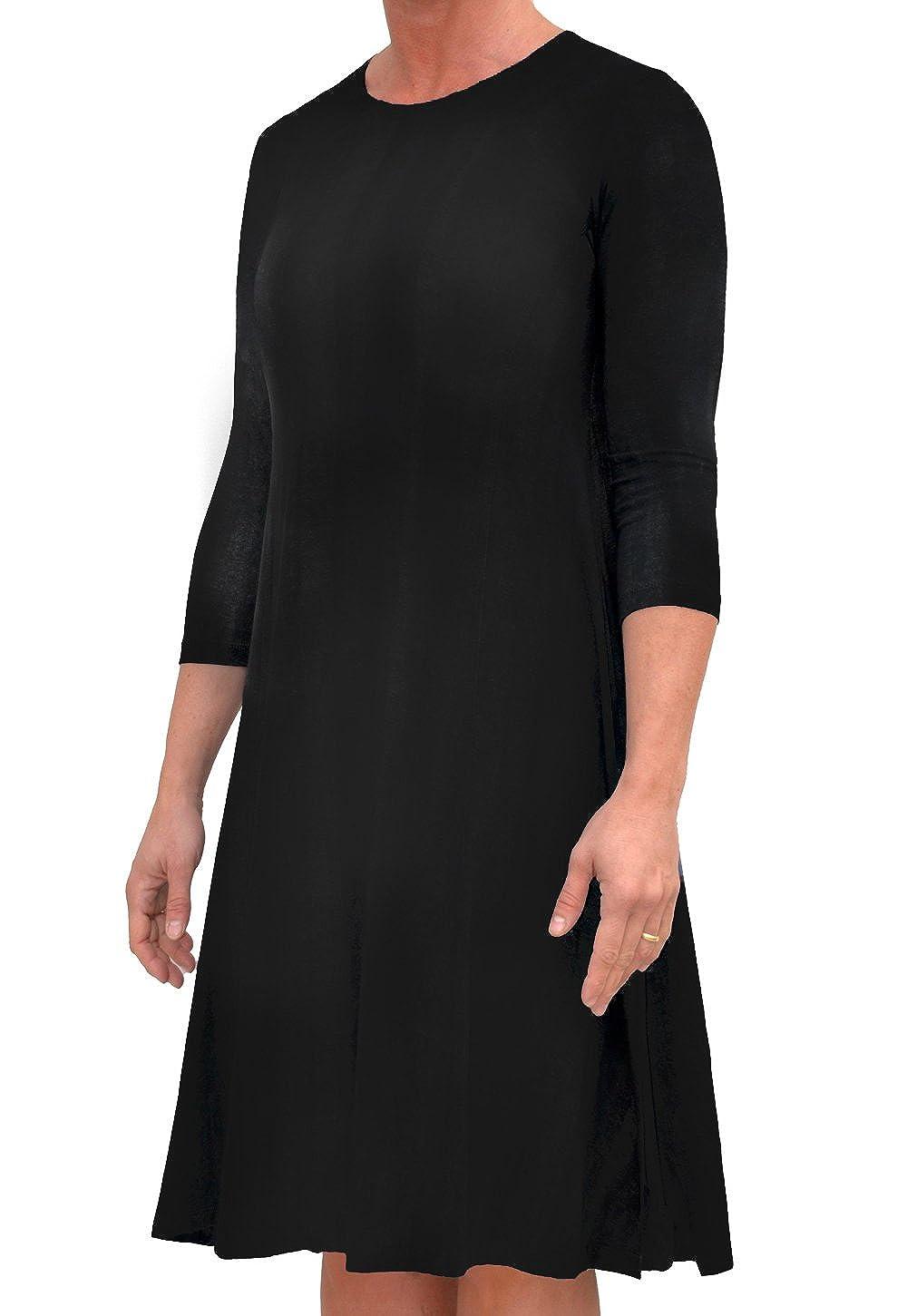 0de602fe2831 Kosher Casual Women's Modest A-Line Trapeze Midi Dress Closed Neckline 3/4  Sleeves Hi-Lo Hemline at Amazon Women's Clothing store: