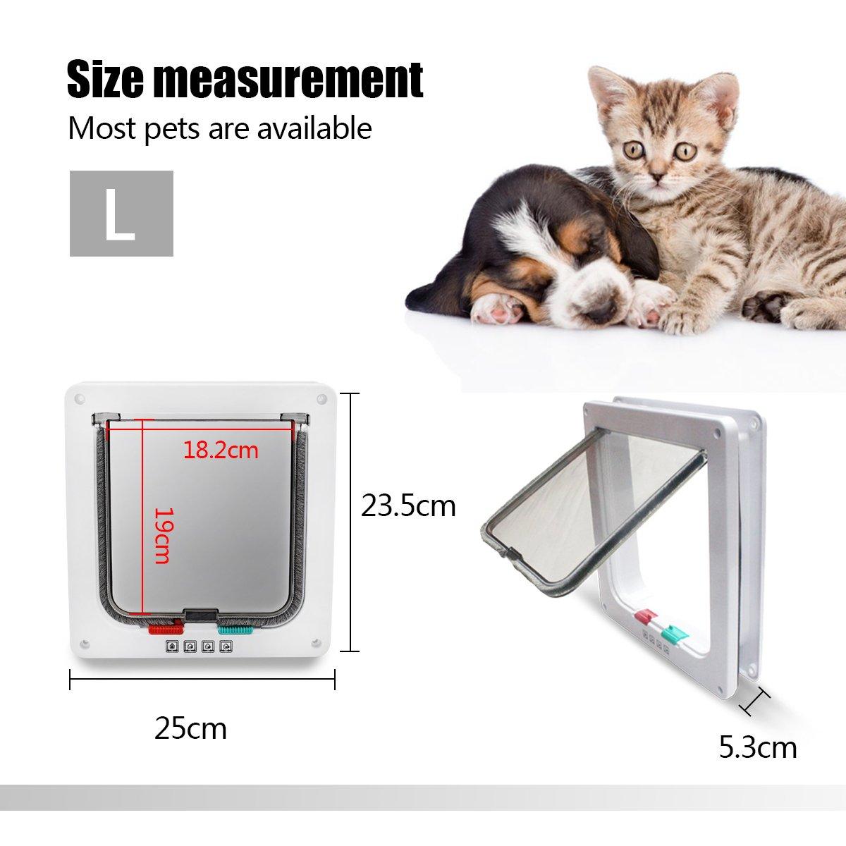 PETCUTE Gateras Puerta Magn/ética Puerta para Mascotas Manual de 4 v/ías de Bloqueo Puerta Gato y Perro