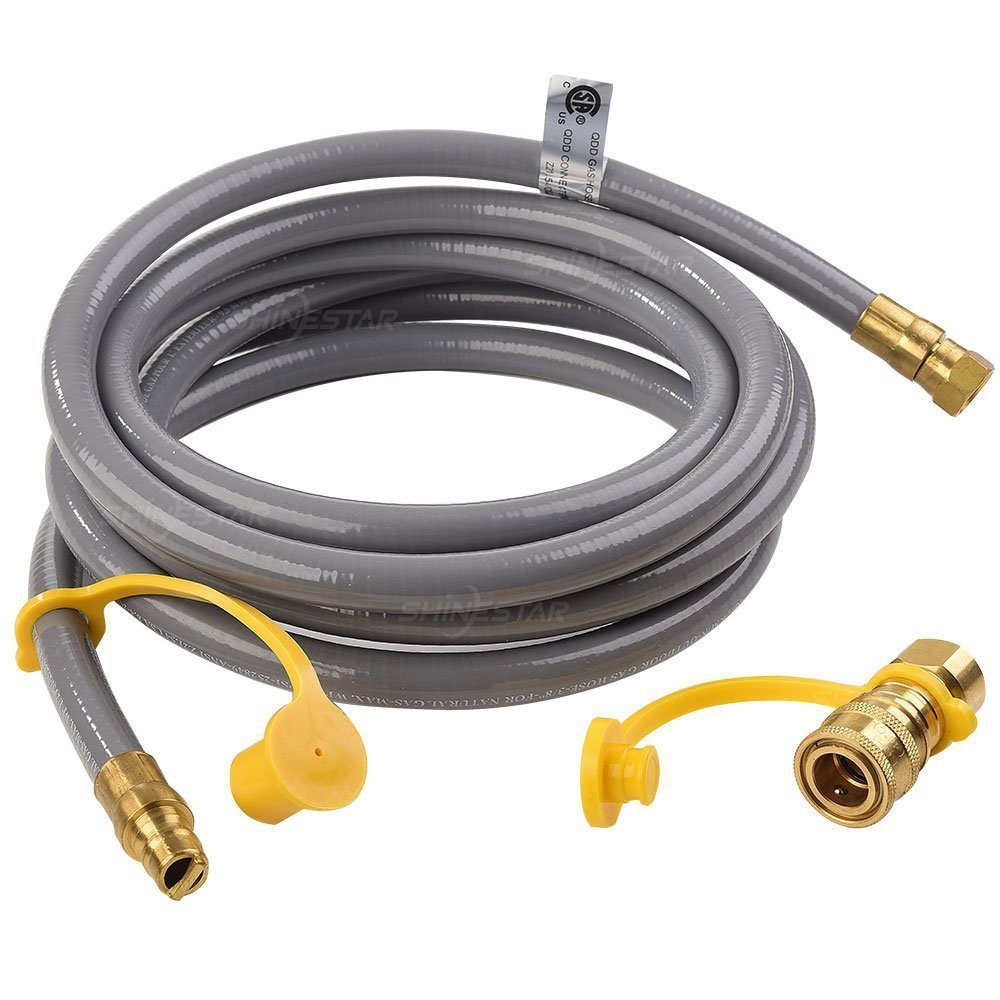 SHINESTAR 12feet Natural Gas Quick Connect/Disconnect Hose Assembly for BBQ Grill- 50,000 BTU Fits Low Pressure Appliance -3/8'' Female Pipe Thread x 3/8'' Male Flare -CSA Certified