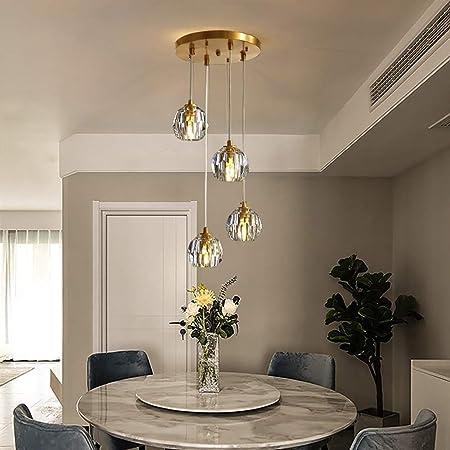 Hao_zhuokun Lámpara colgante Lámpara de cristal simple Dormitorio Comedor Sala de estar Escalera Iluminación American Bar araña de cristal decorativo de la lámpara colgante 4 Nordic lámpara creativa m: Amazon.es: Hogar