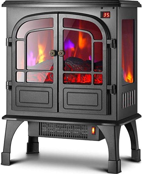 Chimenea Eléctrica con Fuego Eléctrico Power Flame 1800W,Chimenea Virtual, Simulación Llamas, Calefactor Aire Caliente, Termostato, Silenciosa, Negro,Mechanical: Amazon.es: Jardín
