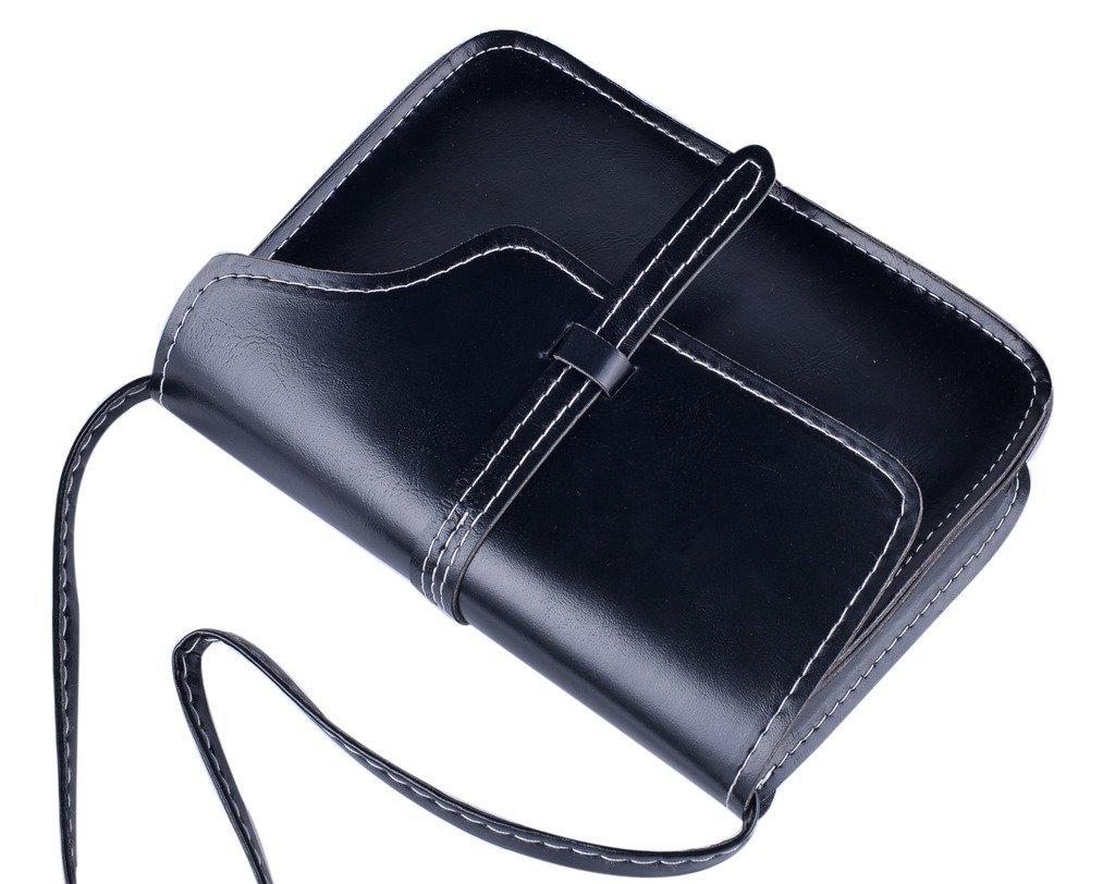 QZUnique Women's Soft PU Leather Fashion Vintage Style Cross Body Shoulder Bag Black by QZUnique (Image #4)