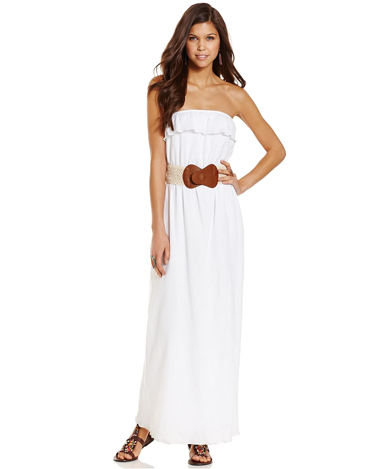 26cda0d9c9b Trixxi Juniors Strapless Belted Maxi Dress at Amazon Women s Clothing store