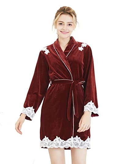 FEOYA - Peignoir de Bain Femme Fille Velours Manches Longues Dentelle Fleur  Belle, Pyjamas de 20d59437466