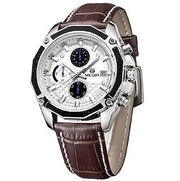 PIO Reloj deportivo de cuarzo movimiento puntero pantalla digital correa de cuero reloj a prueba de agua , brown: Amazon.es: Hogar