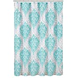 Grey and Teal Shower Curtain Comfort Spaces – Coco Shower Curtain – Teal and Grey – Printed Damask Pattern- 72x72 inches