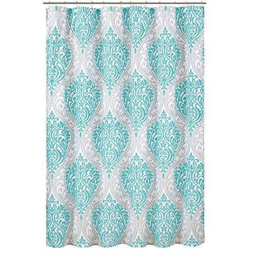 Comfort Spaces Coco Bathroom Shower Printed Damask Pattern Modern Cute Microfiber Fabric Bath Curtains, 72