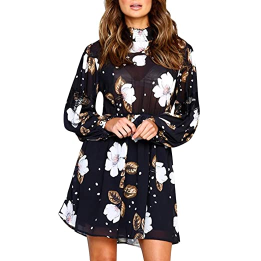 1c74c7a29d8b AMSKY❤Women Mini Dress, Casual Floral Printed High Neck Chiffon Long Sleeve  Elasticband Beach Dress at Amazon Women's Clothing store: