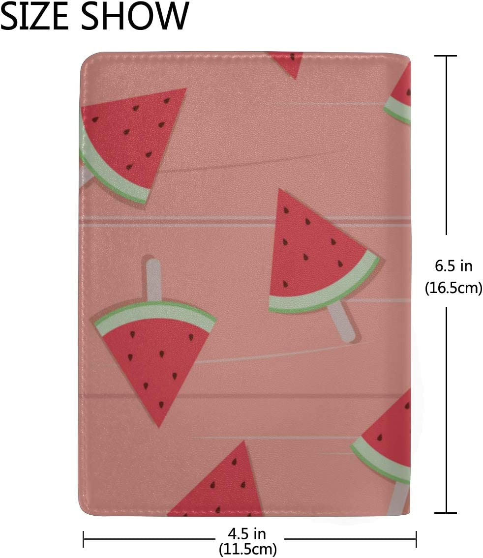 Delicious Slices Of Watermelon Blocking Print Passport Holder Cover Case Travel Luggage Passport Wallet Card Holder Made With Leather For Men Women Kids Family