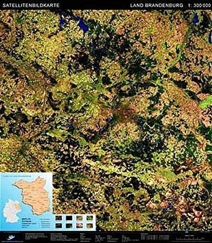 Brandenburg Satellitenbild Karte  Massstab 1  300.000  Landschaften Aus Dem Weltraum   FPK Satellitenbildkarten