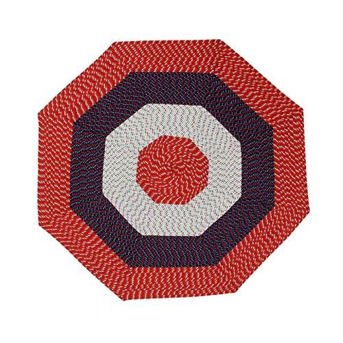 MISC Red Octagon Rug 6Ft, Reversible Braid Mat Braided Geometric Carpet for Hallway, Polypropylene
