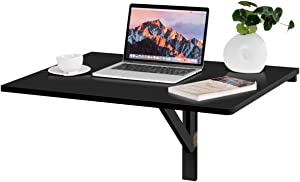 """Tangkula Wall-Mounted Drop-Leaf Table, Simple Floating Folding Laptop Desk, Space Saving Hanging Table for Study, Bedroom, Bathroom or Balcony (31.5"""" x 23.5""""(LxW)) (Black)"""