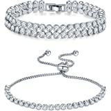 Jewels Galaxy Multicolor Crystal Platinum Plated Combo Of 1 Multistrand Bracelet & 1 Starnd Bracelet For Women