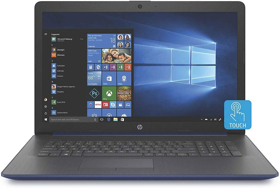"2020 HP 17.3"" Touchscreen Laptop Computer/ Intel Quad-Core i5-8265U Up to 3.9GHz/ 8GB DDR4 RAM/ 256GB PCIe SSD/ DVD/ Bluetooth 4.2/ AC WiFi/ USB 3.1/ HDMI/ Windows 10 Home/ Blue"
