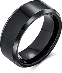 Plain Simple Wide Beveled Titanium Black Silver Tone Couples Wedding Band Ring for Men Women Comfort Fit 8MM Size 6-14