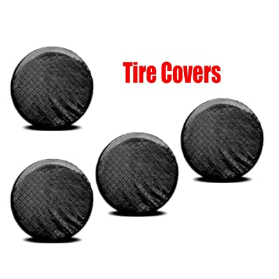 "Gsze Set of 4 Tire Covers Waterproof Aluminum Film Cotton Lining Tire Protectors for Trailer, SUV, RV, Camper etc Universal Fits 26"" to 29"" Tire Diameters: Automotive"