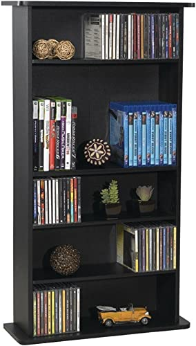 Atlantic Drawbridge Media Storage Cabinet – Store Organize A Mix of Media 240Cds, 108DVDs Or 132 Blue-Ray Video Games, Adjustable Shelves, PN37935726 in Black Renewed