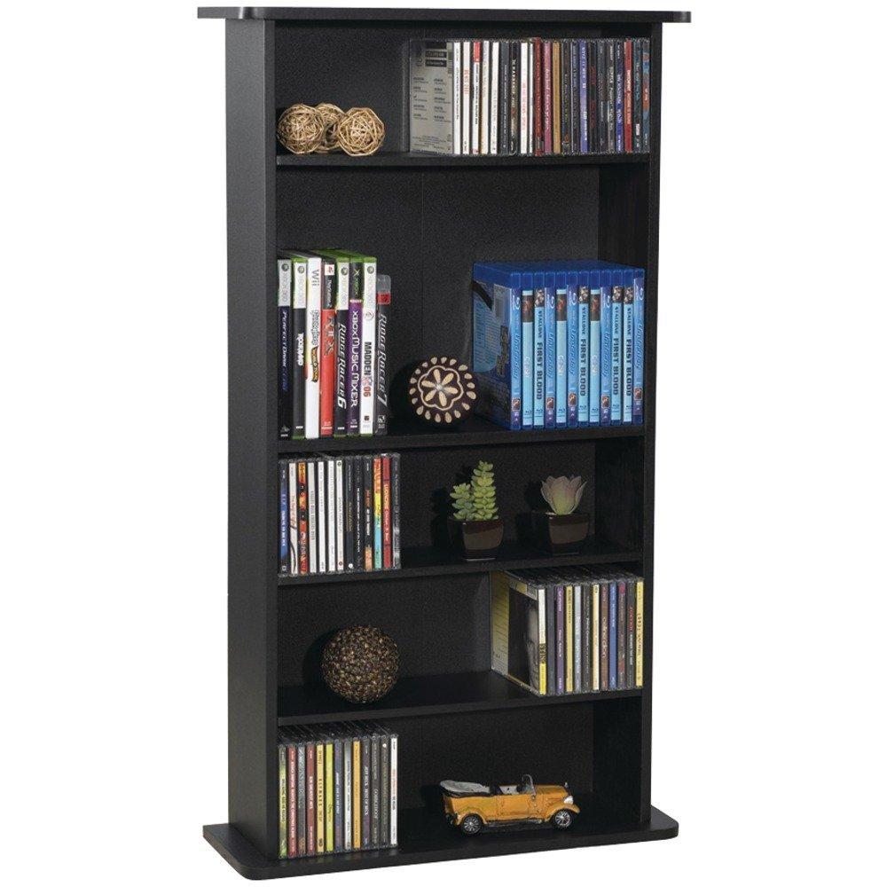 Atlantic Drawbridge Media Storage Cabinet - Store & Organize A Mix of Media 240Cds, 108DVDs Or 132 Blue-Ray/Video Games, Adjustable Shelves, PN37935726 in Black (Renewed) by Atlantic