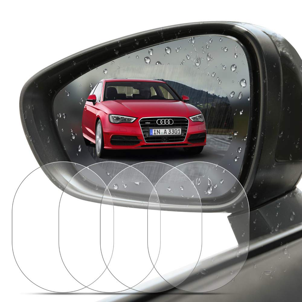 BizoeRade 4 PCS Car Rearview Mirror Protective Film, HD Anti-Fog Nano Coating Rainproof Film. Anti-Scratch Screen Protector