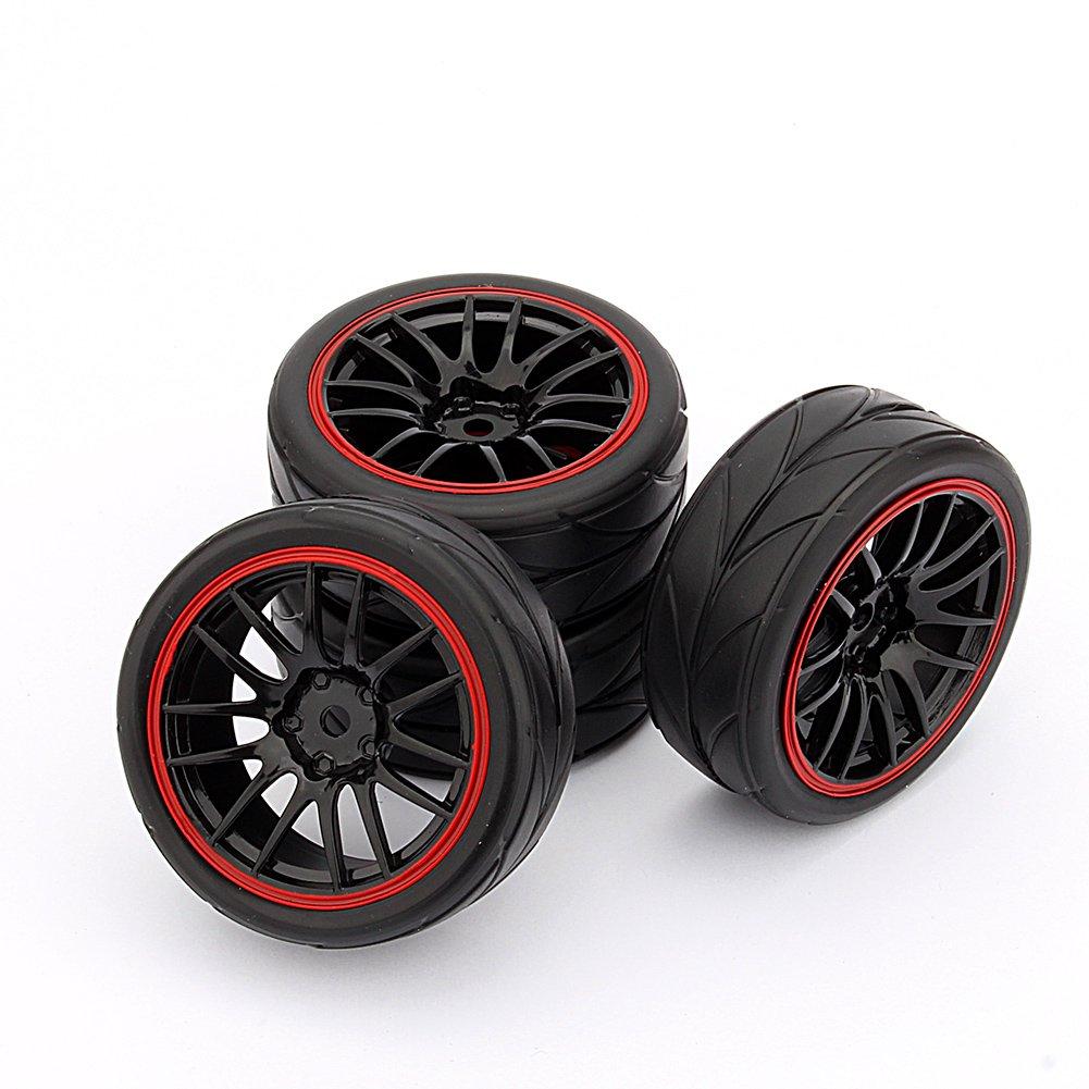 yosoo 4pcs rc racing rubber tires fit hsp hpi 9068 6081 1 10 car on road wheel ebay. Black Bedroom Furniture Sets. Home Design Ideas