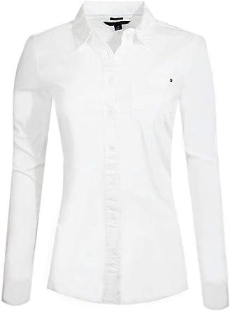 Tommy Hilfiger - Camisa de popelina de manga larga para mujer Blanco (sin bolsillo). XS: Amazon.es: Ropa y accesorios