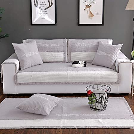 Funda Cubre Sofá De Esquina Moderno Minimalista Antideslizante Sofá Cojín 100% Algodón Bordado Couch Cover Muebles Sillón Protector Sofá Cubierta Decoración (1PCS),Gray2-90×210cm(35×83inch): Amazon.es: Hogar