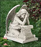 17.25 Inches Wide X 18.5 Inches High, Resin Memorial Remembrance Grieving Angel Statue for Grave