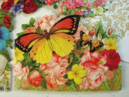 psF24 Punch Studio Boutique Victorian Floral Collection 24 Note Card Assorted Ephemera Roses Butterflies