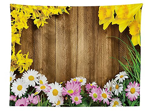 vipsung Rustic Home Decor Tablecloth Collection of Various Kind of Flower Fresh Long Grass Frame Daisy Easter Theme Dining Room Kitchen Rectangular Table Cover Multi - Primitive Easter Grass
