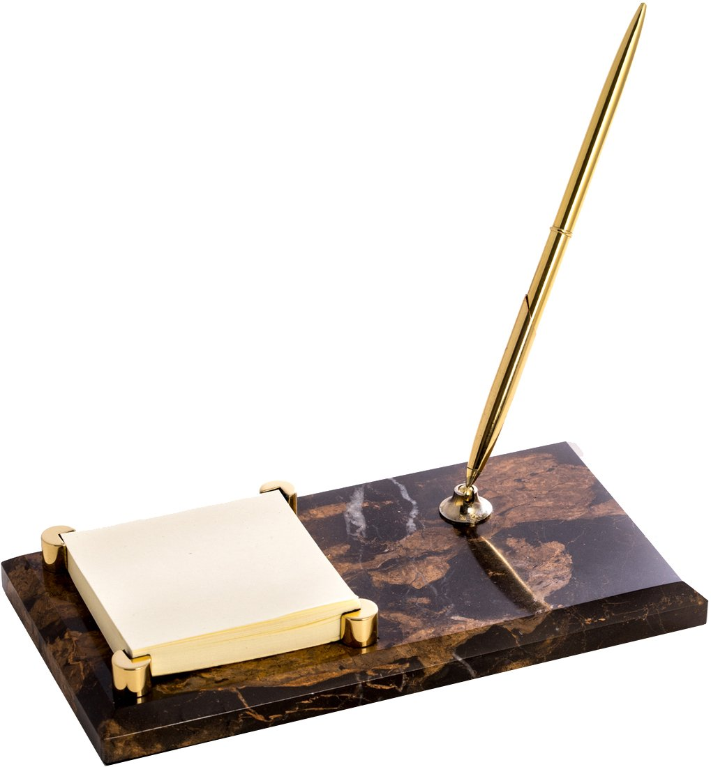 ''Tiger Eye'' Marble with Gold Plated Memo Pad Holder & Pen