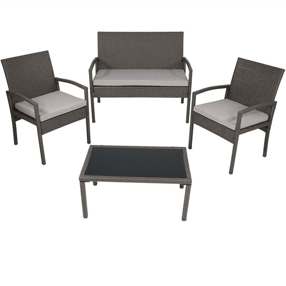 Amazon com sunnydaze pompeii 4 piece outdoor wicker rattan lounger patio furniture set with grey cushions sunnydaze decor garden outdoor