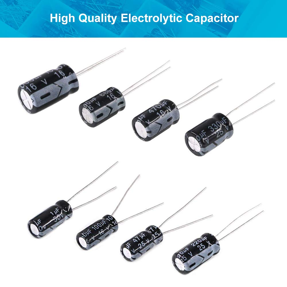 LeanKing Electrolytic Capacitors,500PCS 24 Value Assorted Assortment Kit Set with Clear Plastic Box to Carry Convenient Range 0.1uF-1000uF 500PCS 24 Value Assorted Assortment Kit Set with Clear Plastic Box to Carry Convenient Range 0.1uF/-1000uF
